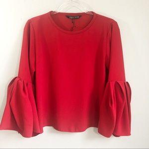 Zara Woman | Red Peplum Sleeve Blouse